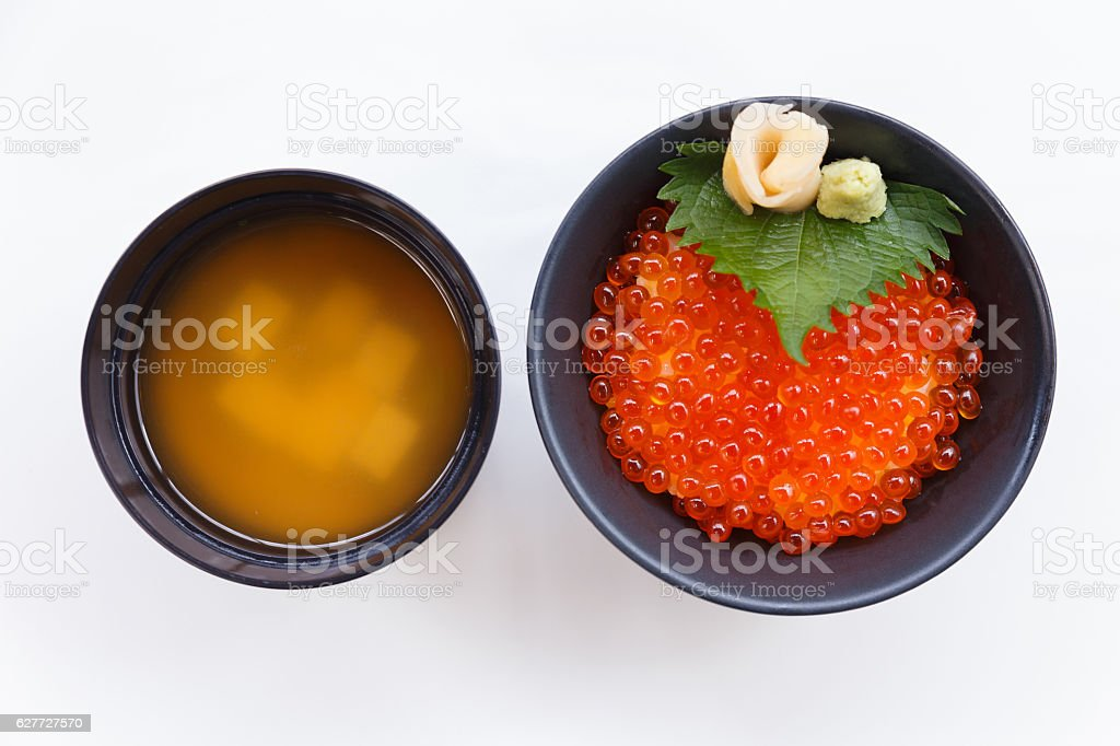 Tobiko Don Served with Wasabi, Prickled Ginger and Miso Soup. stock photo