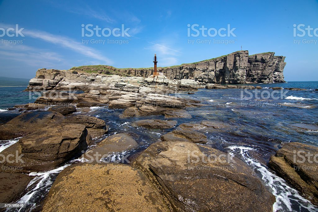 Tobizin cape in Vladivostok, Russia stock photo