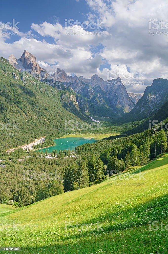 Toblach Lake (Toblacher See) Italy stock photo