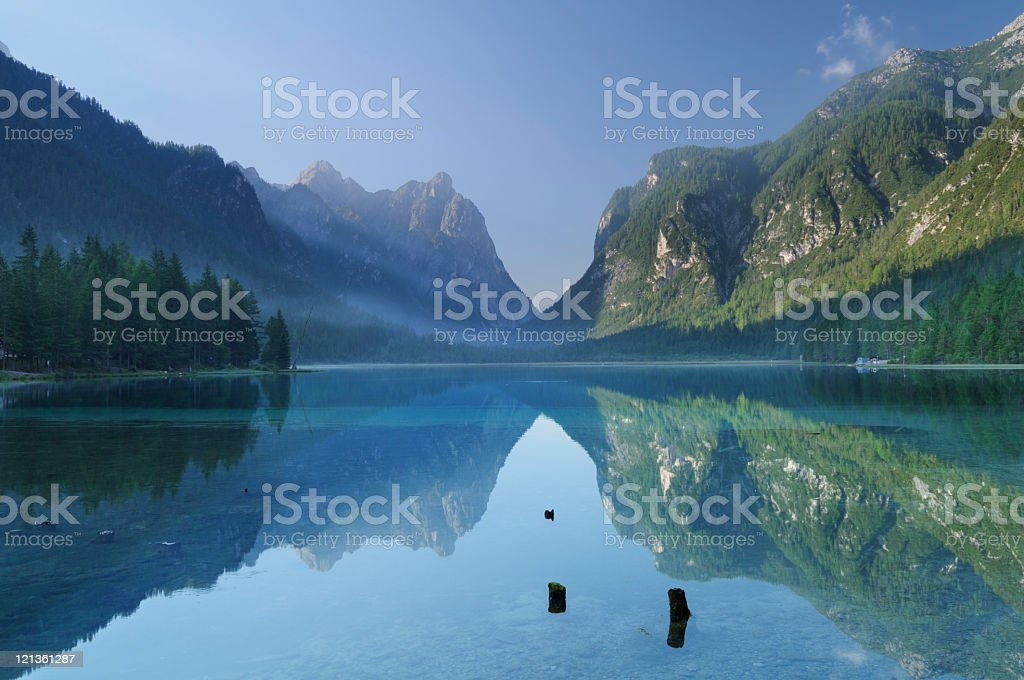 Toblach Lake (Italy) stock photo