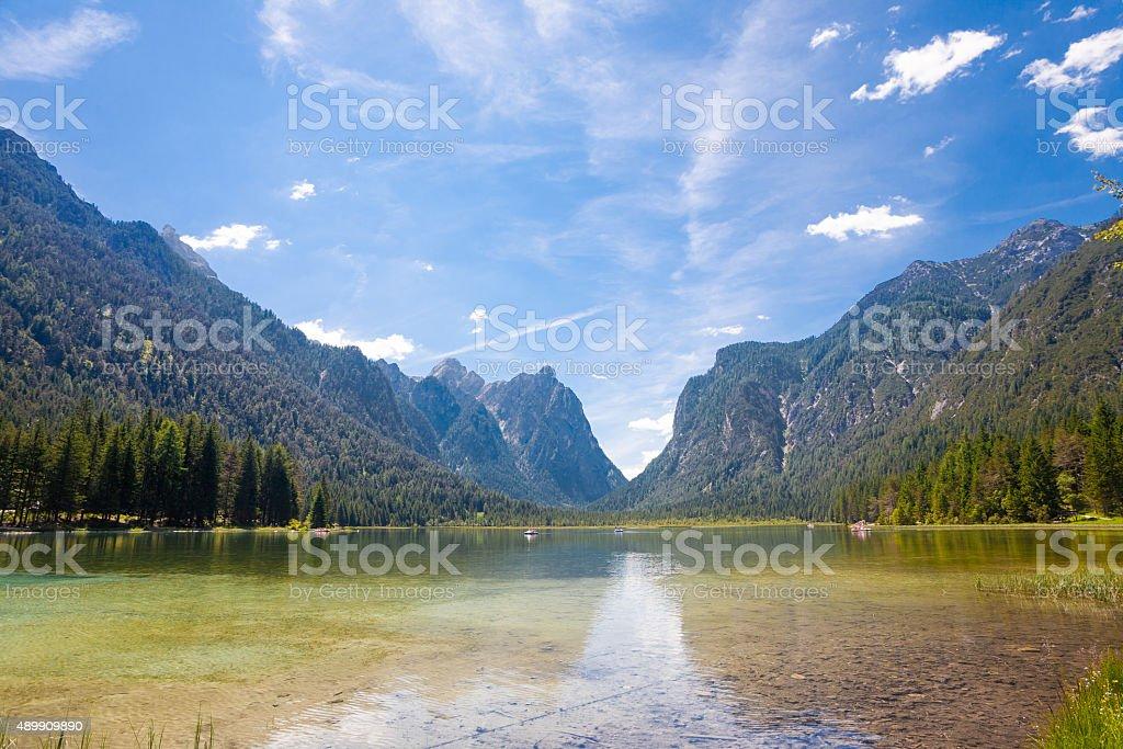 Toblach lake stock photo