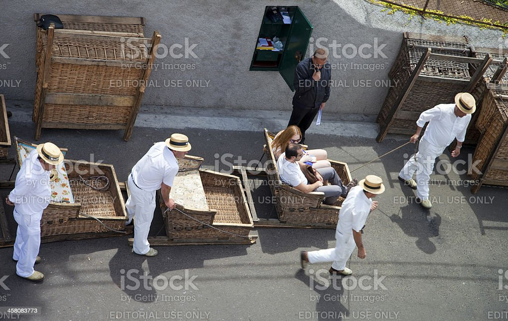 Toboggan ride on Madeira Island stock photo