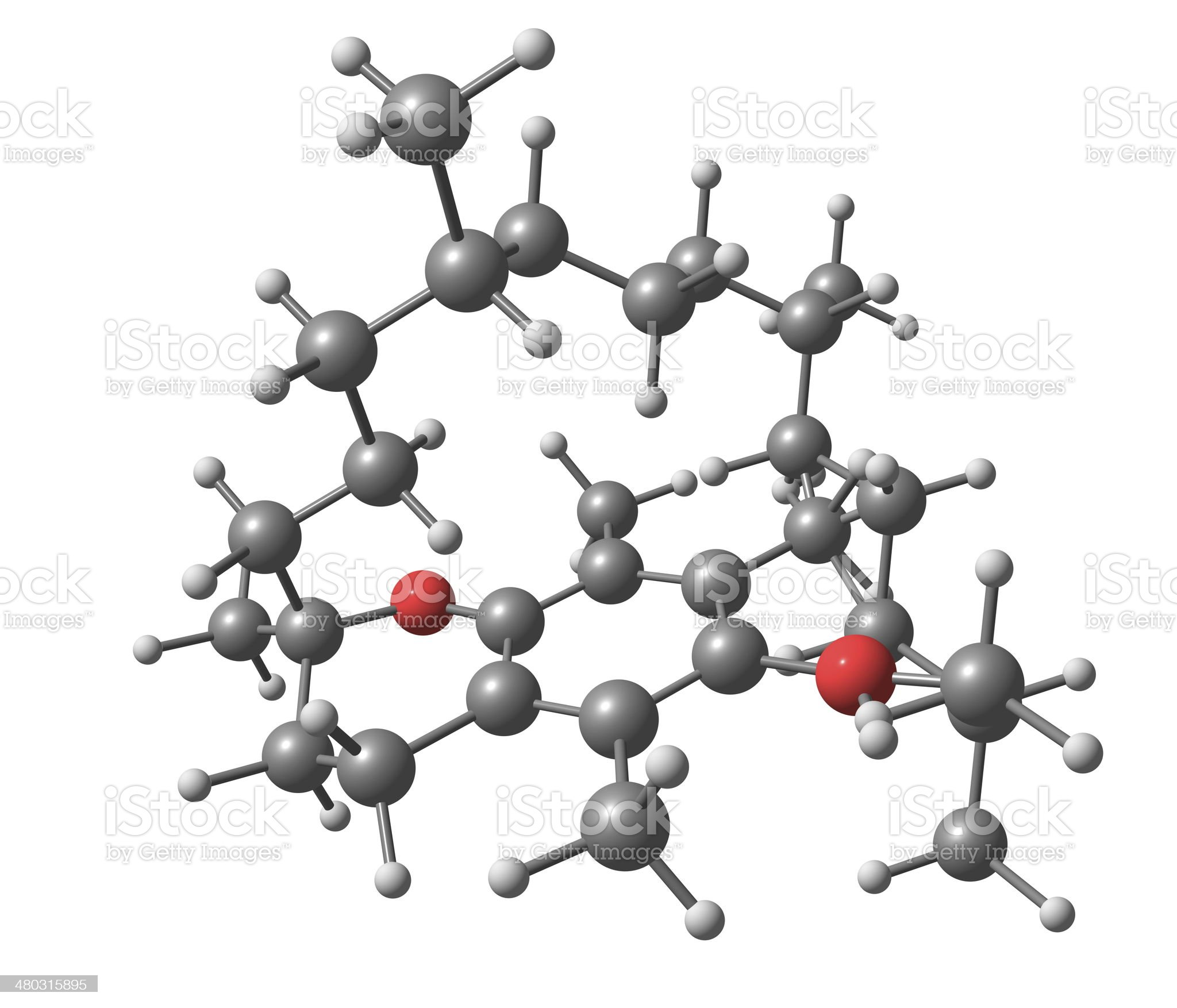 Tocopherol (vitamin E) molecular structure on white background royalty-free stock photo