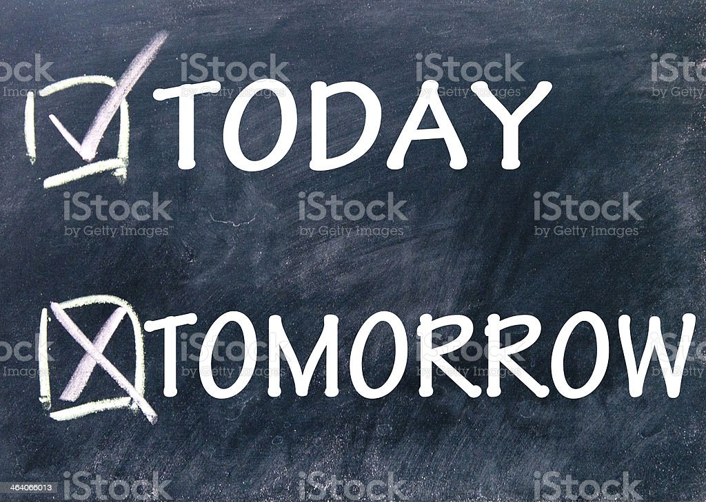 today and tomorrow choice stock photo