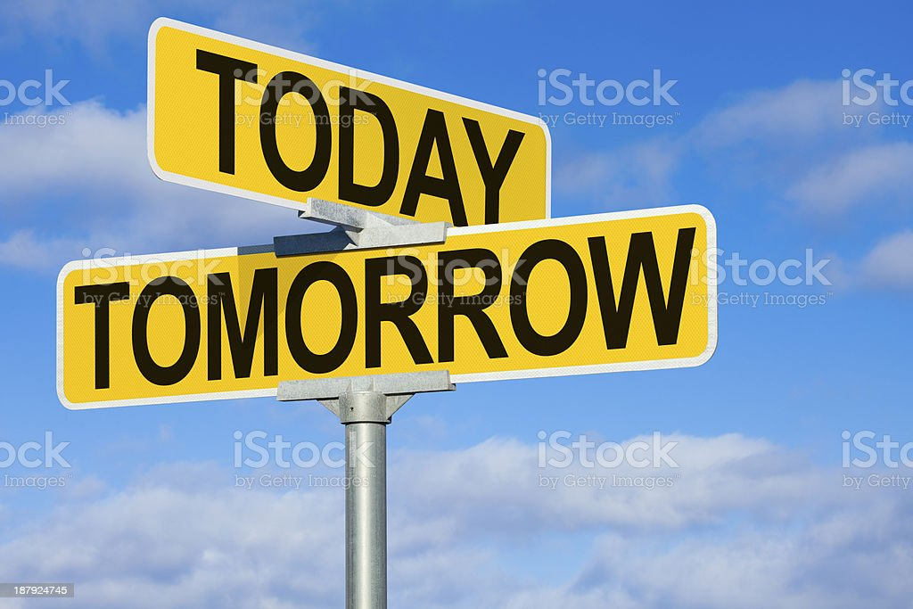 Today and Tomorrow Street Intersection Sign stock photo