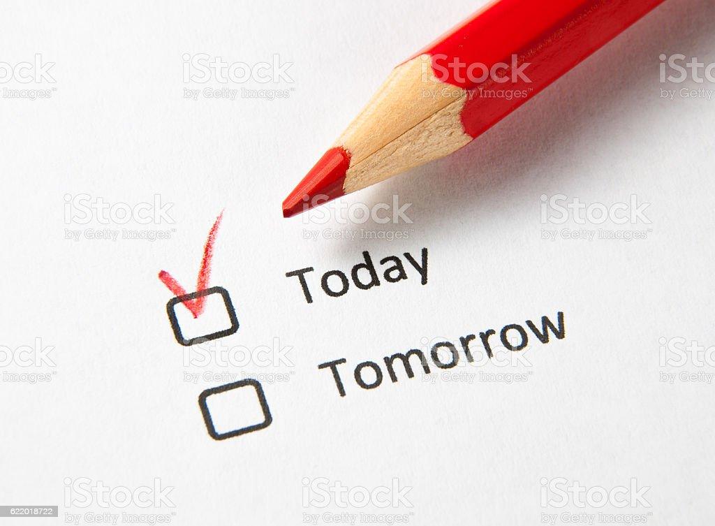 Today check box checked not tomorrow stock photo