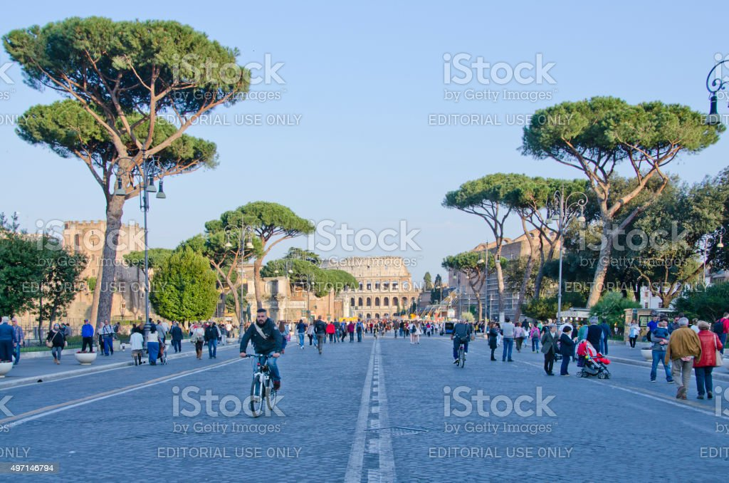 Today Meets Yesterday at Roman Colosseum stock photo