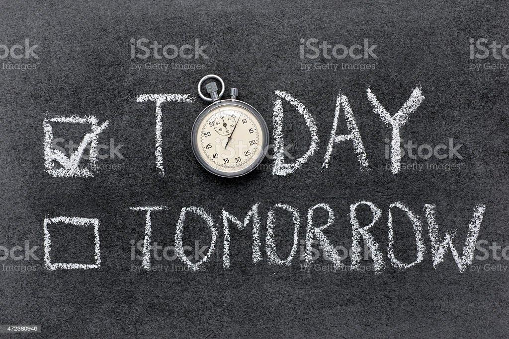 today vs tomorrow stock photo