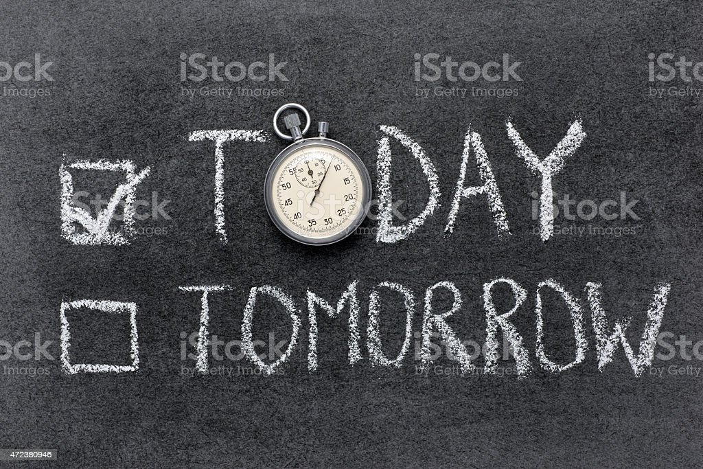 today vs tomorrow stock photo