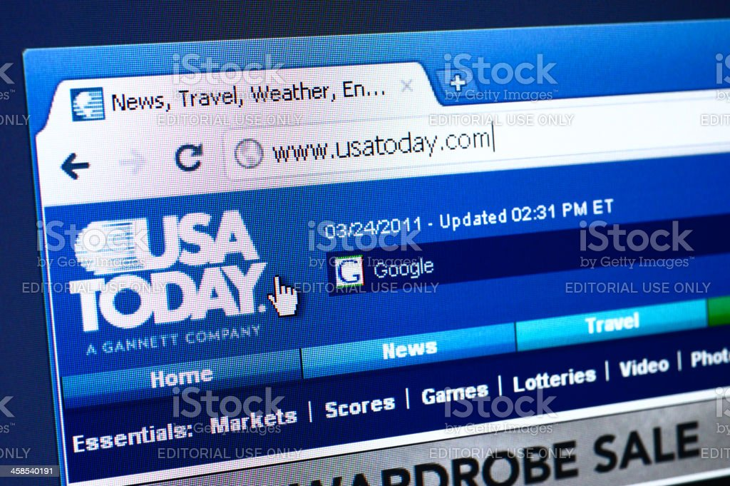USA Today webpage on the browser royalty-free stock photo