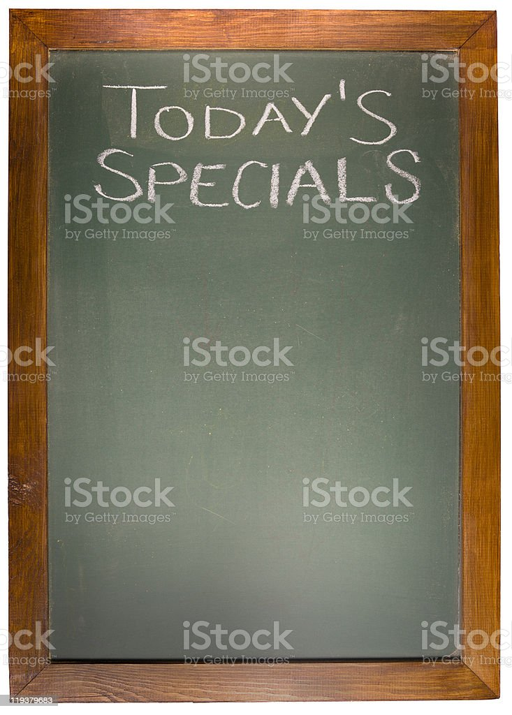 Today's Spacials copy space concept on blackboard royalty-free stock photo