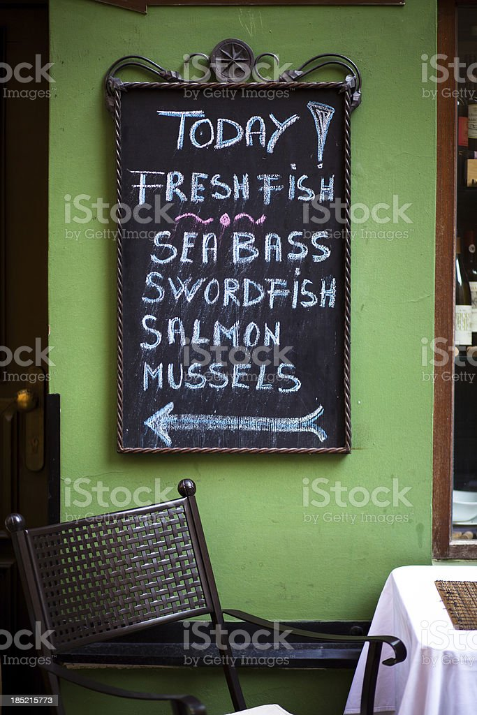 Today's Specials at Seafood Restaurant, Prague royalty-free stock photo