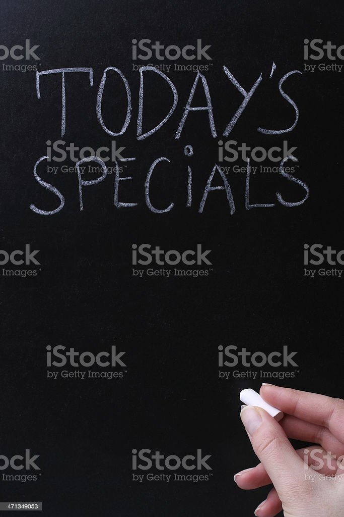 Todays Specials on Blackboard royalty-free stock photo