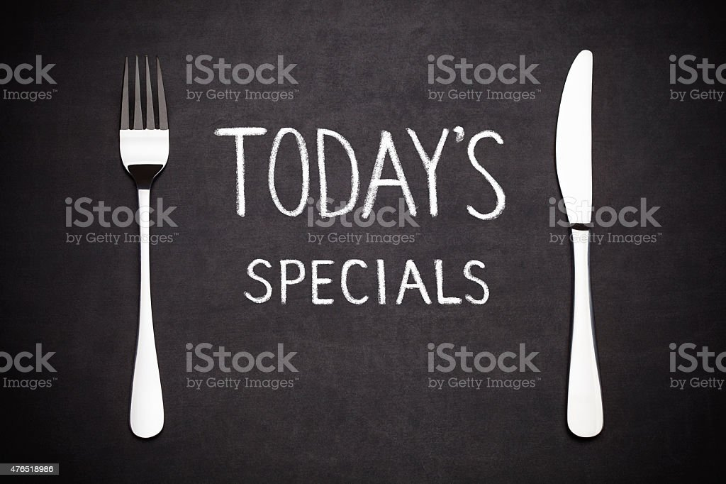 Today's specials stock photo