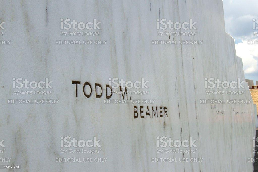 Todd Beamer on Wall of Names stock photo