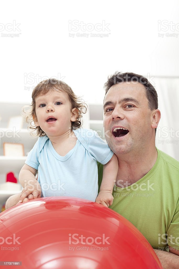 Toddler and his father royalty-free stock photo