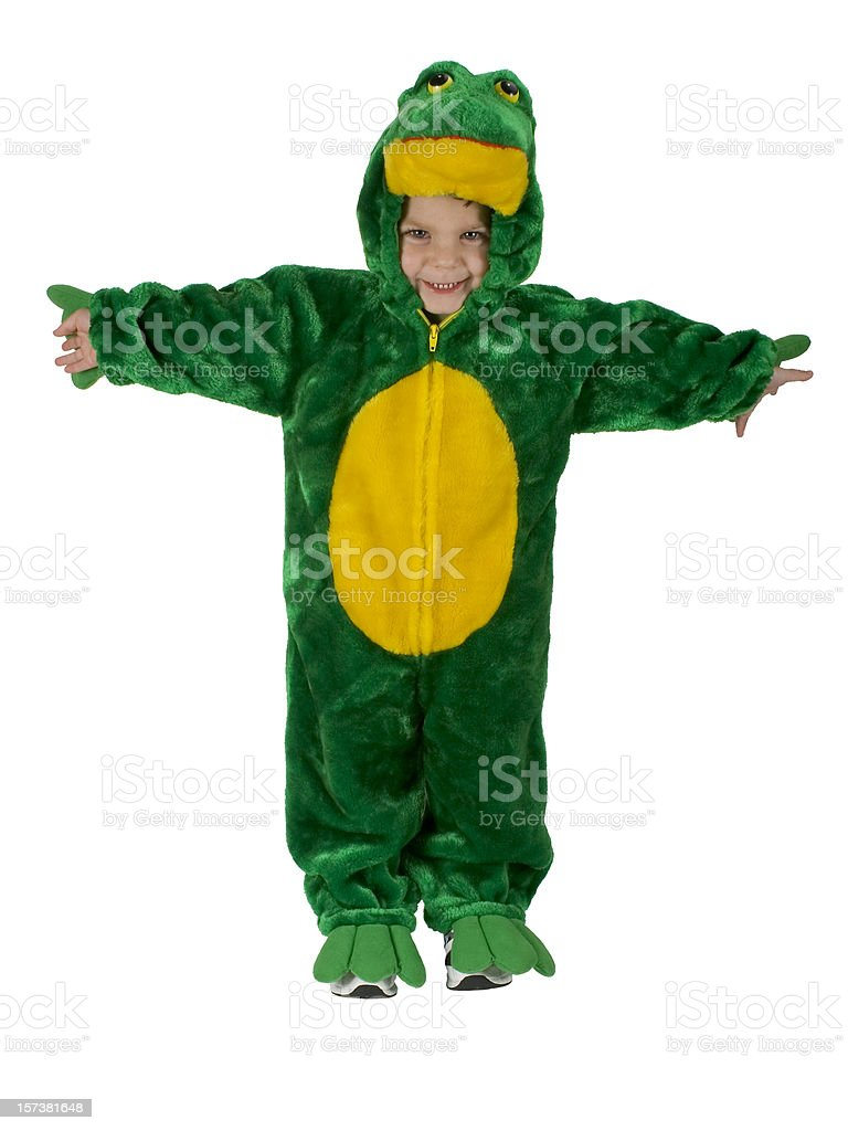 Toddler Boy In Halloween Frog Costume, Arms Out – Clipping Path royalty-free stock photo
