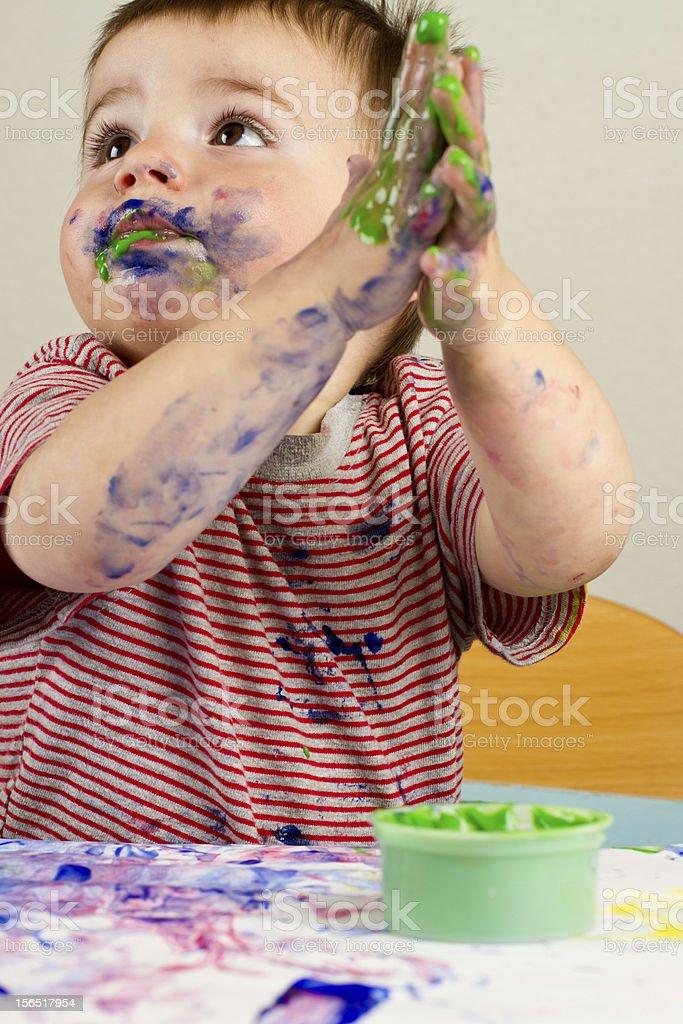 Toddler Boy Painting royalty-free stock photo
