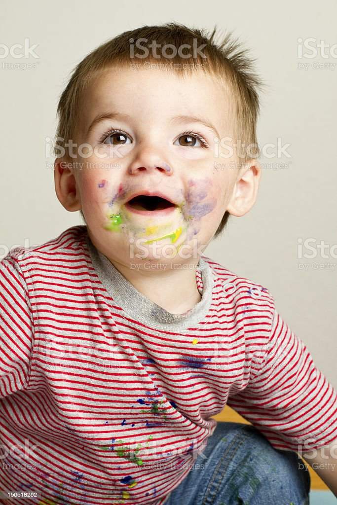 Toddler Boy Painting royalty-free stock photo