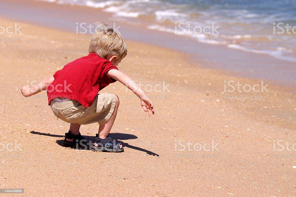 Toddler Boy Playing at Beach royalty-free stock photo