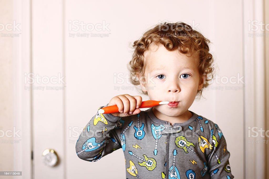 Toddler Brushing royalty-free stock photo
