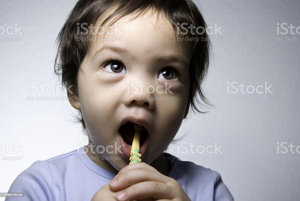 Toddler Brushing Teeth royalty-free stock photo