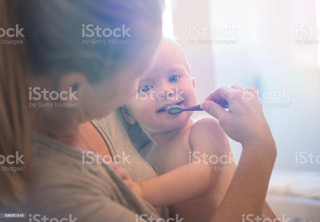 Toddler Brushing Teeth stock photo