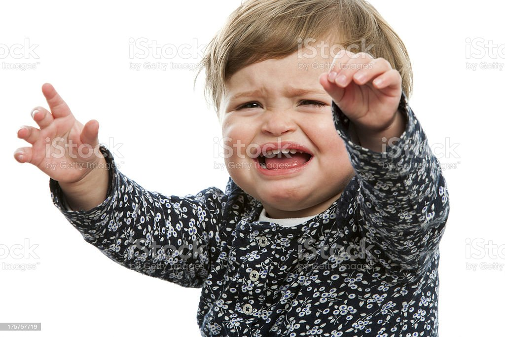 Toddler crying for attention. stock photo