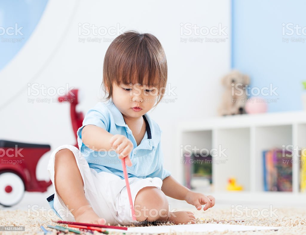Toddler Drawing stock photo