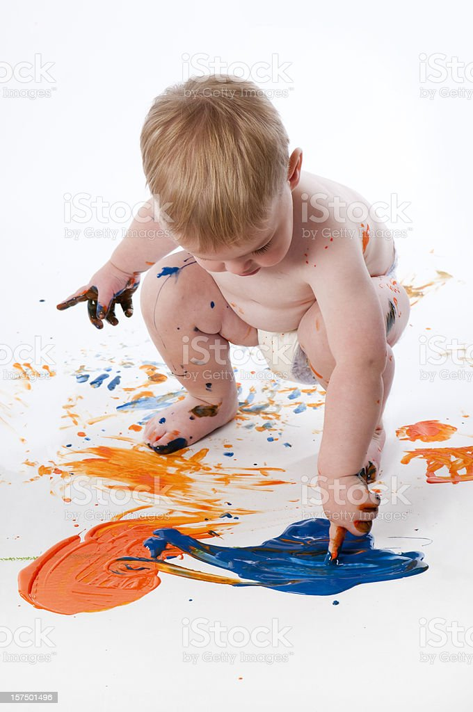 Toddler Fingerpainting royalty-free stock photo