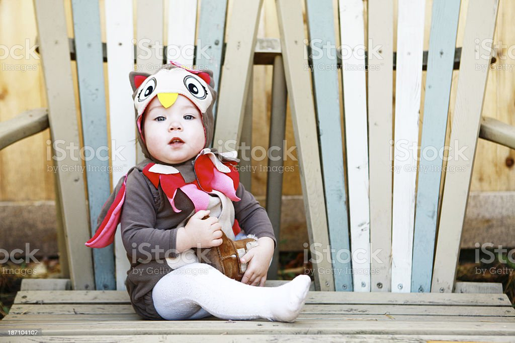 Toddler Girl Dressed as an Owl for Halloween royalty-free stock photo