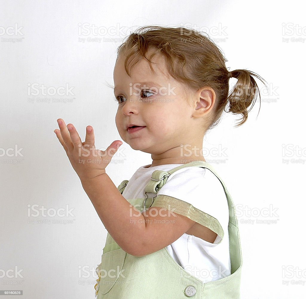 Toddler holding up hand royalty-free stock photo