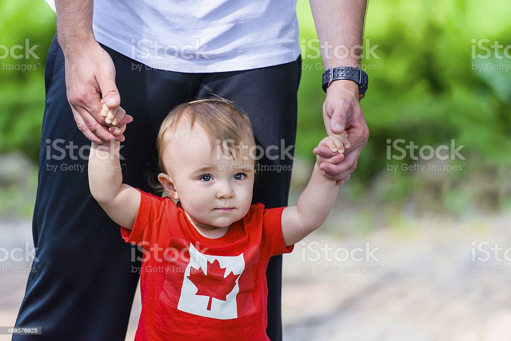 Toddler in Canada shirt stock photo