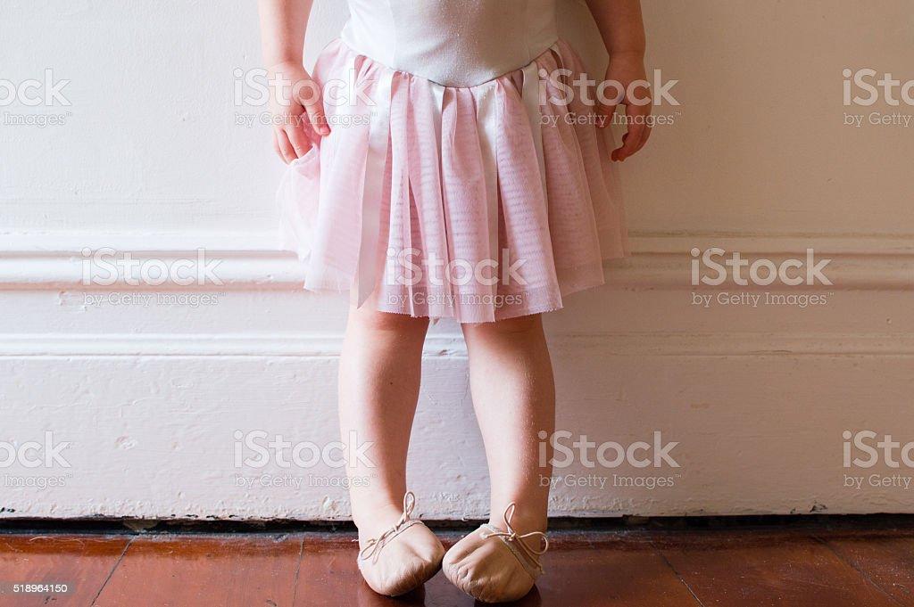 Toddler in pink tutu stock photo