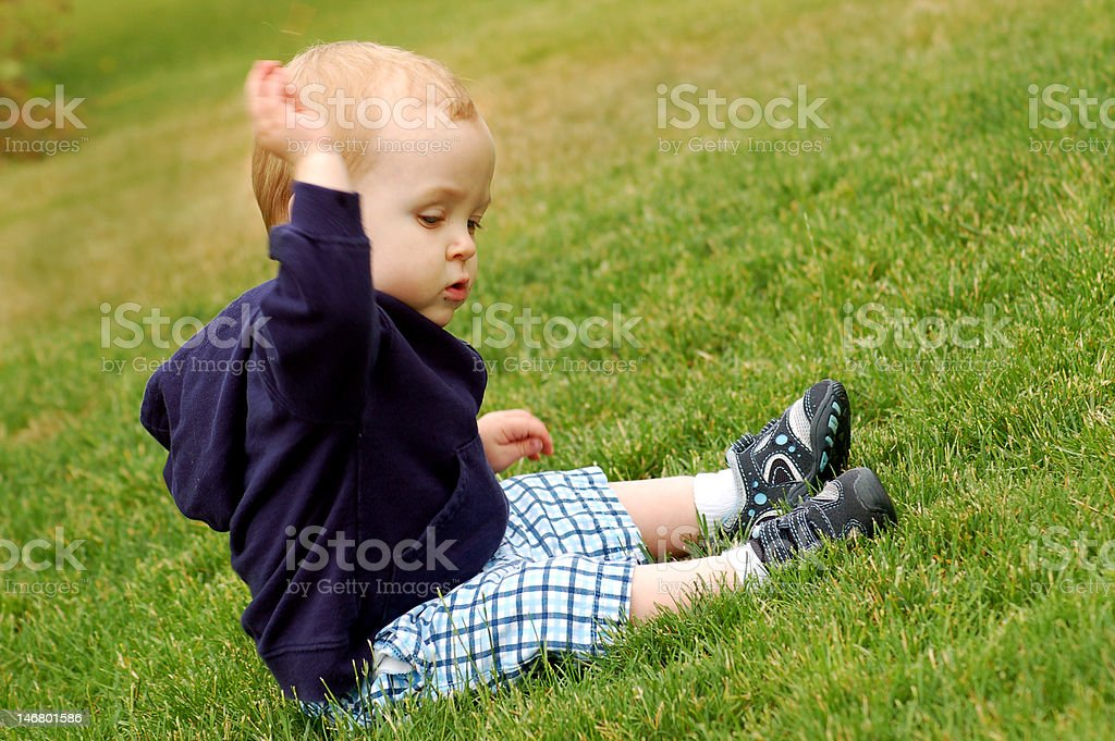 Toddler in the Grass royalty-free stock photo