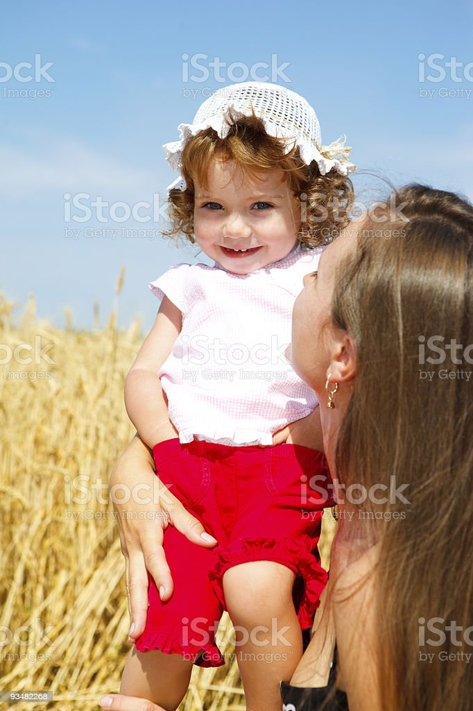 Toddler in wheat field royalty-free stock photo