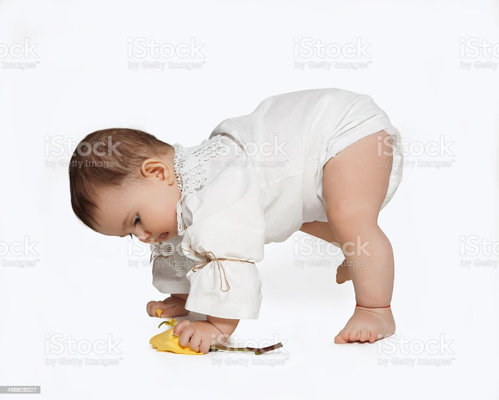 toddler learning to walk isolated on white background royalty-free stock photo