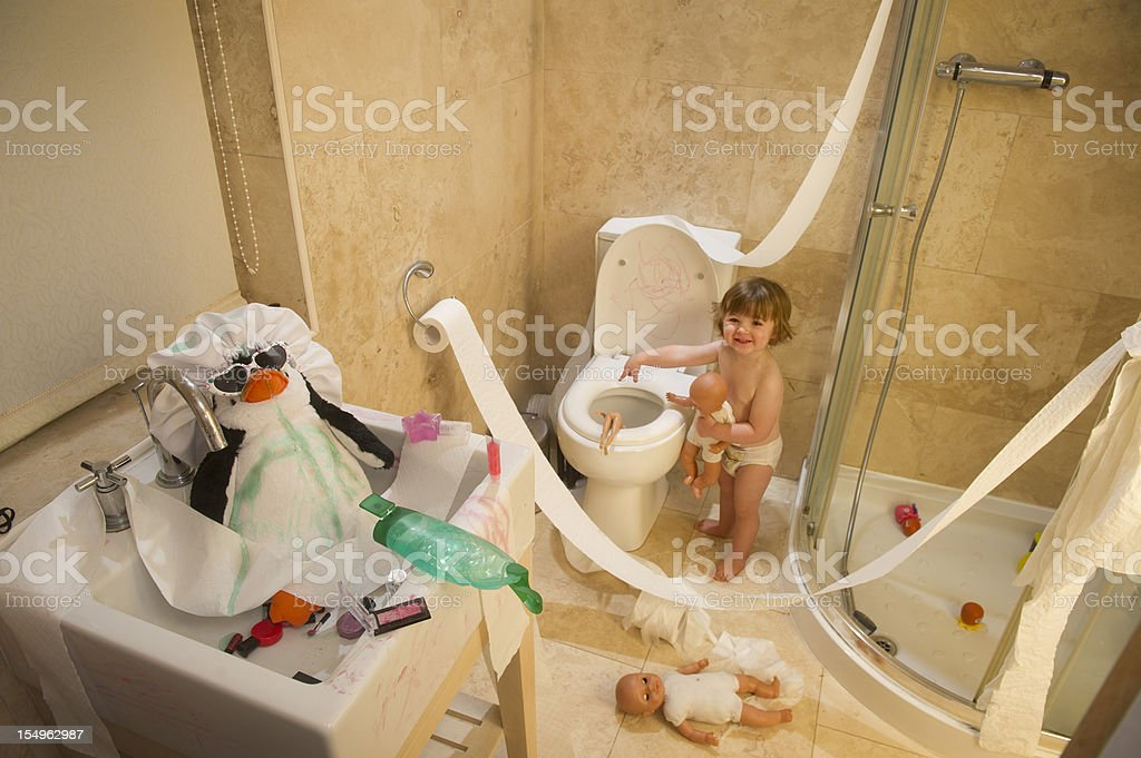 toddler mischief stock photo