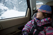 Toddler on a winter drive