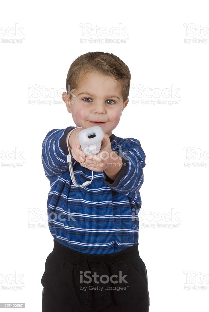 Toddler Playing Video Games, Controller In Hand, Clipping Path, Isolated royalty-free stock photo