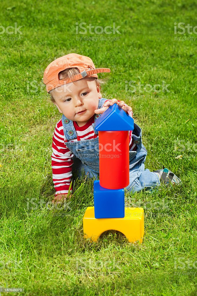 Toddler playing with blocks royalty-free stock photo