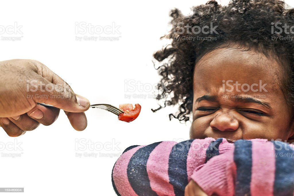 Toddler refusing food stock photo