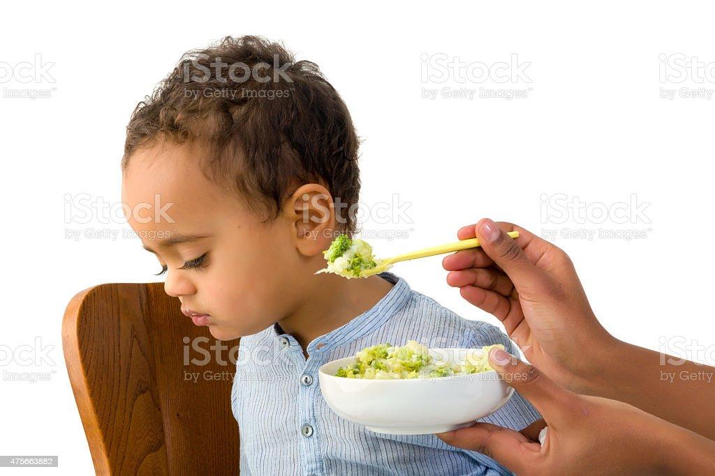 Toddler refusing to eat stock photo