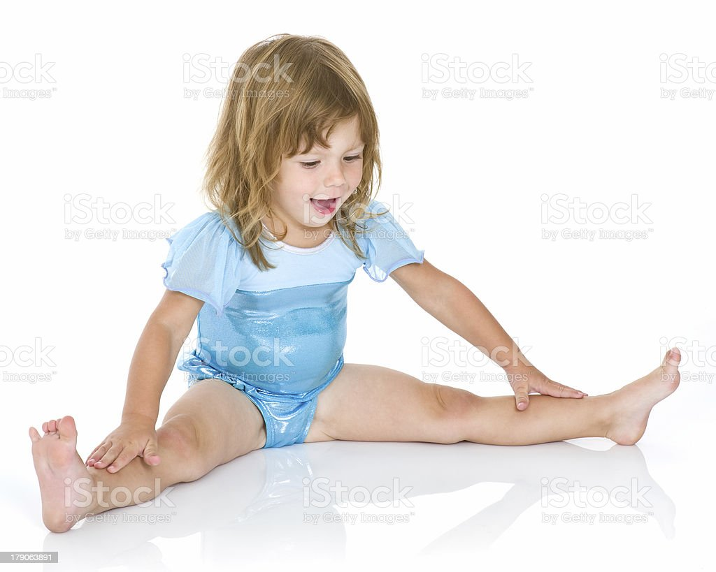 Toddler Stretching in Leotard royalty-free stock photo