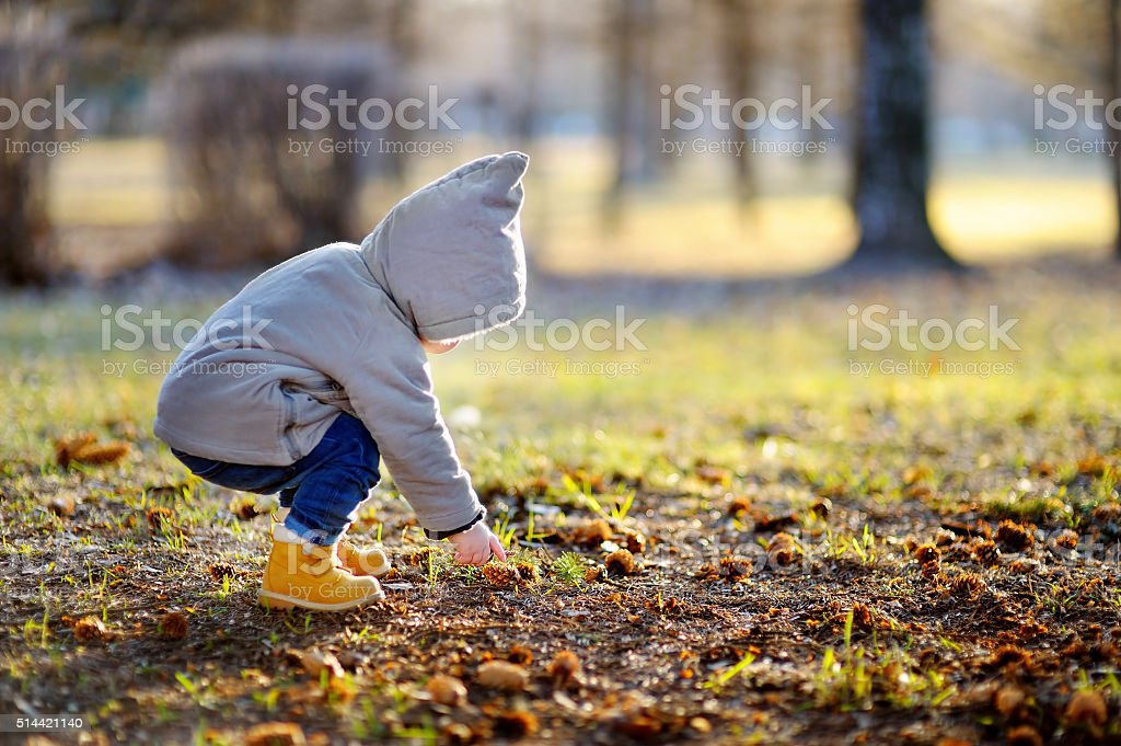 Toddler walking outdoors at the warm spring day stock photo