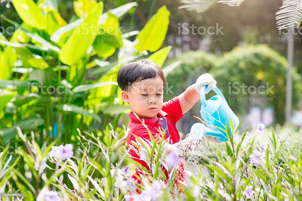 Toddler watering flowers stock photo