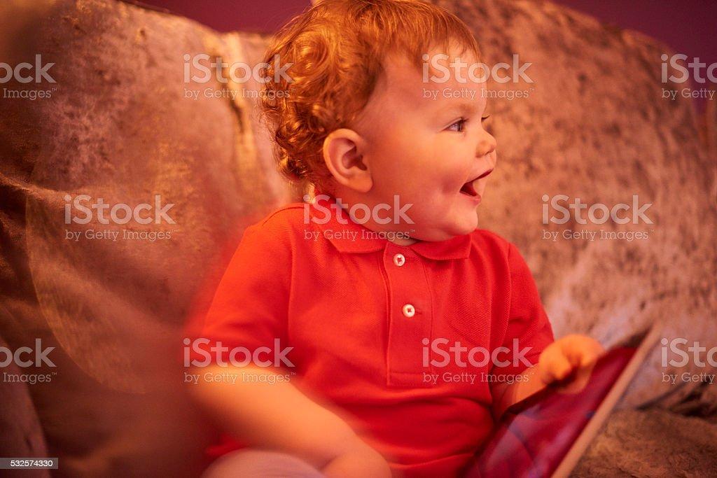Toddler whaving fun stock photo