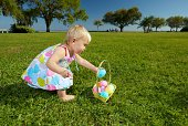 Toddler with Easter Eggs