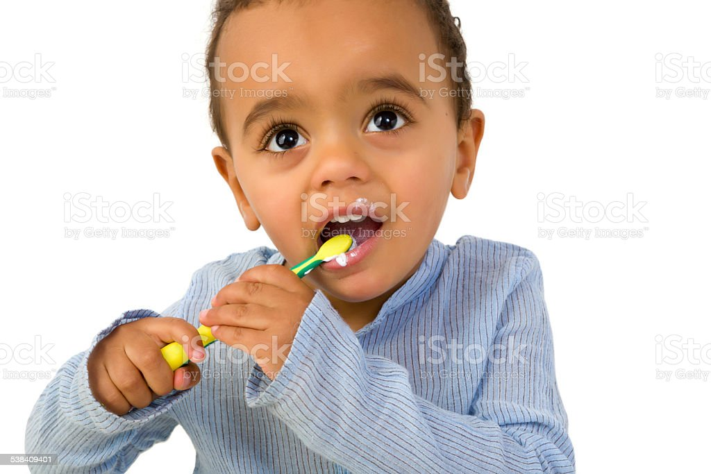 Toddler with tooth brush stock photo