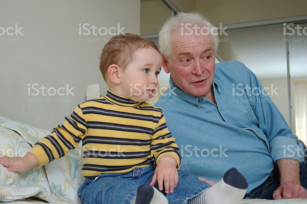 Todler and grandfather royalty-free stock photo